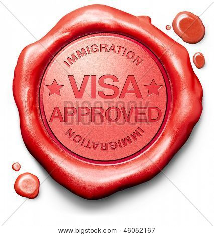 visa approved immigration stamp for crossing the border passing customs for tourism and passport control approval to enter country