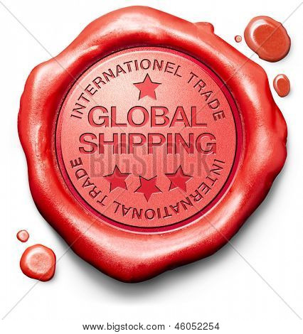 global shipping worldwide delivery of online order at internet webshop shopping icon red wax stamp