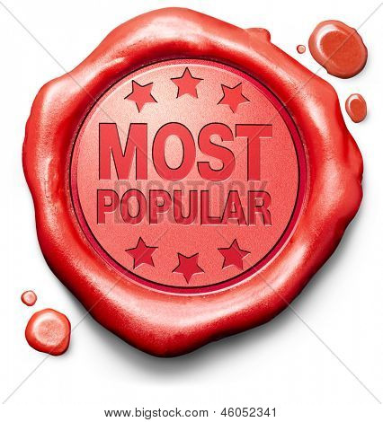 most popular top seller best value product market leader and hot item red stamp label or icon