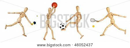 Wooden Dummies Playing Sports