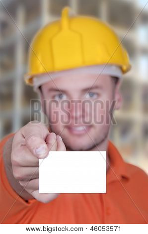 Engineer Man Holding Blank Business Card