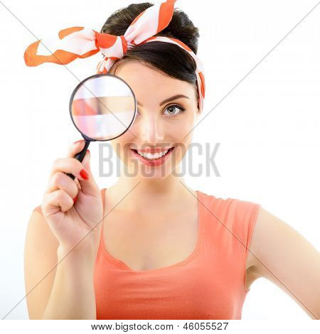 Pinup girl with magnifying glass, portrait of young happy sexy woman in pin-up style, over white poster