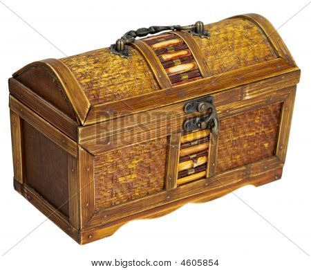 Wooden chest with iron handles on the white background poster