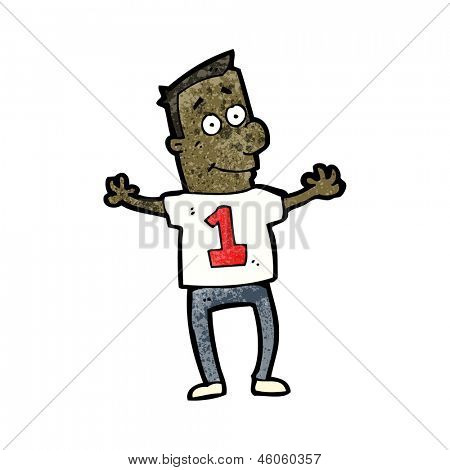 cartoon man in shirt with number one
