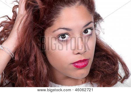 Beautiful Red Health Hair Of Young Attractive Woman
