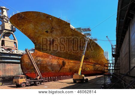 Rusty Ship In Dock