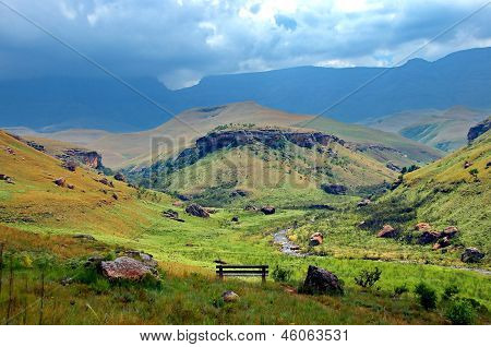 Bushmans valley in Drakensberg mountains