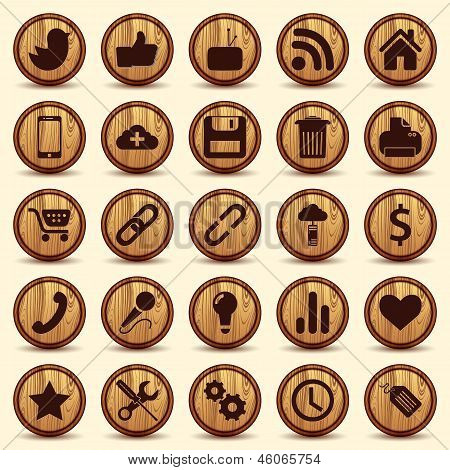 Social Icons, wood texture Buttons Set