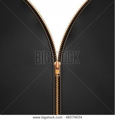 Black leather background with open metallic zipper  - raster version