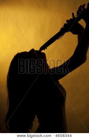 Teenage Clarinet Player Silhouette