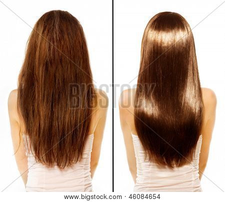 Hair. Before and After Advertising Portrait. Hairstyle. Haircare. Damaged Hair Treatment