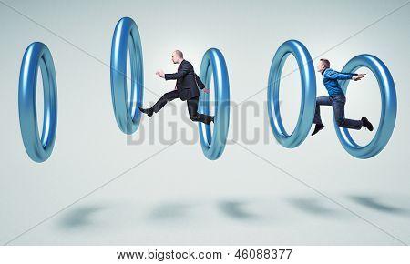 people jump in 3d metal rings