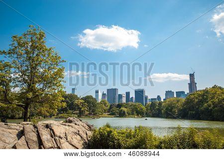 NYC Central Park lake landscape skyline