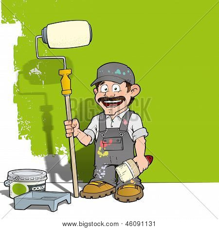 Cartoon illustration of a handyman - Painter standing by a paint bucket & a paint tray holding a paint roller infront of a half-painted wall. poster
