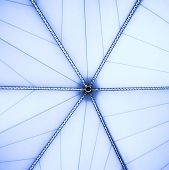 blue unusual geometric ceiling of office building poster