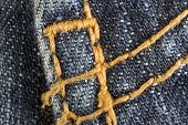 photo macro with blue jeans close up poster