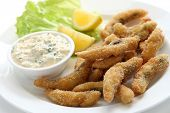 homemade fried fish fingers with tartar sauce poster