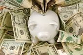 A piggy bank overflows with saved money poster