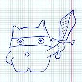 Vector illustration of cat with sword on checked paper poster
