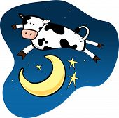 From the nursery rhyme Hey Diddle Diddle the cow jumped over the moon poster