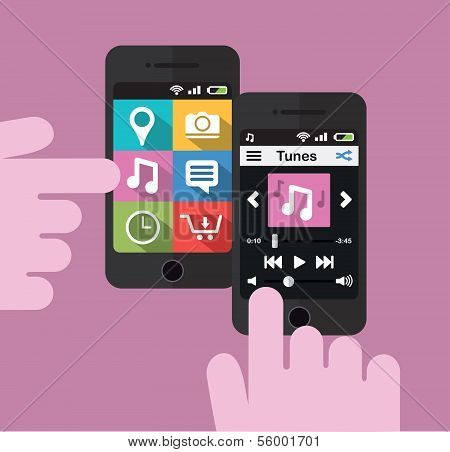 Smartphone with music player interface