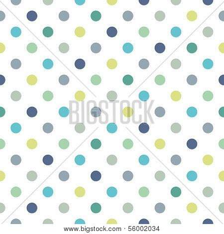 Seamless vector pattern, texture or background with cool mint, blue and yellow green polka dots on white background for web design, desktop wallpaper, winter blog, website or invitation card. poster