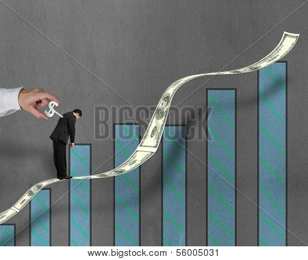 Winding Winder On Businessman's Back Standing On Growing Money Trend