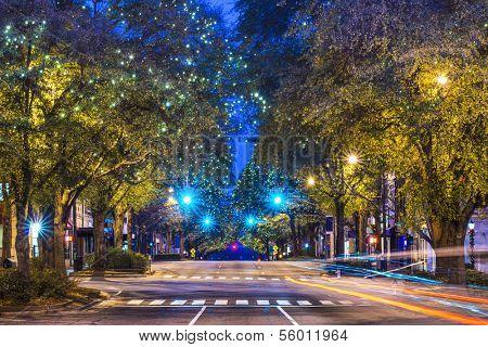 Downtown Athens, Georgia, USA night scene.