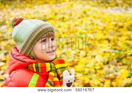 Happy Boy Smiling In Autumn Park