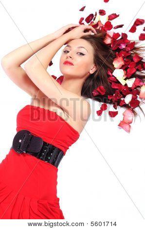 Young Woman Lies In Petals