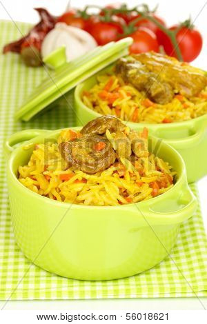 Delicious pilaf with vegetables close up poster