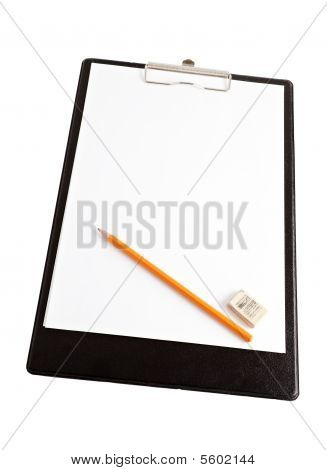 Clipboard With Pencil And Rubber