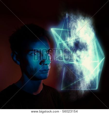 A man staring at an abstract geometric cloud-like substance symbolizing a future illusion spiritual encounter an illusion a portal to another dimension or a hallucination. poster