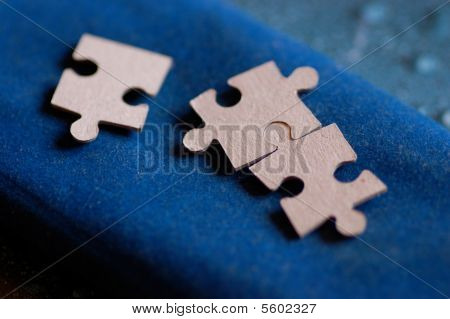 Puzzle Game On A Blue Velvet Cloth