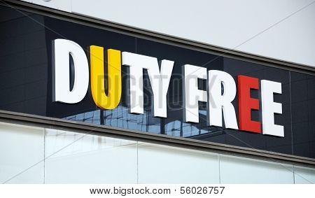 Duty free shop sign.