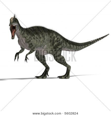 giant jurassic beast. 3D render with clipping path and shadow over white poster