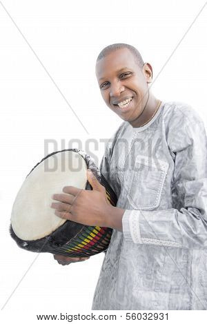 Real Djembe player, traditional garment, Senegal, Africa