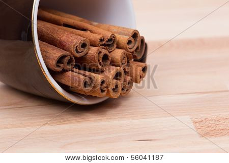 Cinnamon in a coffe cup