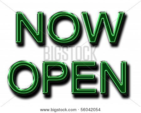 A Glowing Now Open Sign In Green
