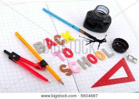 old fashioned back to school with ink pot and pencil poster