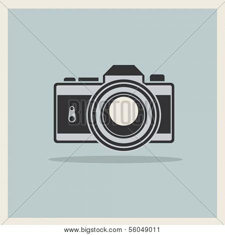 DSLR Professional Photo Camera Icon On Retro Vintage Background vector