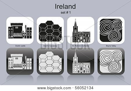 Landmarks of Ireland. Set of monochrome icons. Editable vector illustration.