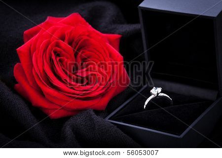 Red Rose And Diamond Ring In A Box