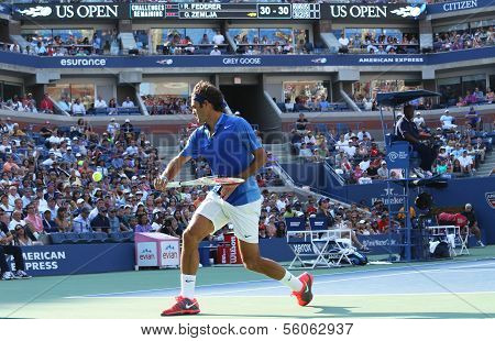 Seventeen times Grand Slam champion Roger Federer during his first round match at US Open 2013