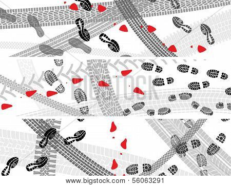 Horizontal Banners Of Shoe And Tire Prints.