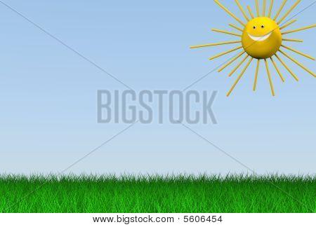 3d meadow with sun
