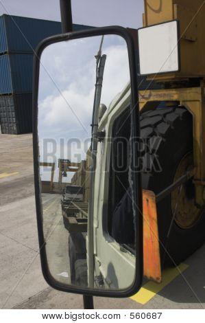 Big Truck Mirror Reflection