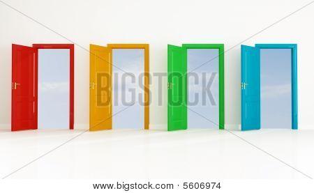 Four Colored Open Door