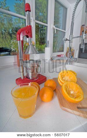 Oranges On Red Modern Kitchen