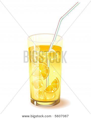 glas met drankje, oranje en ijs
